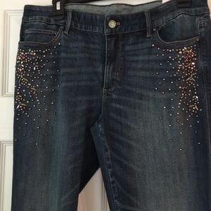 White House Black Market Jeans - WHBM Denim boot jeans with rhinestones